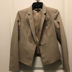 Ann Taylor Tan One Button Cropped Blazer 2P